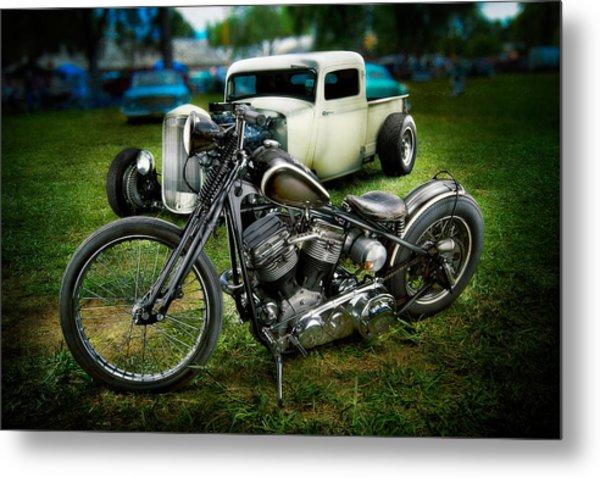 Panhead Harley And Ford Pickup Metal Print