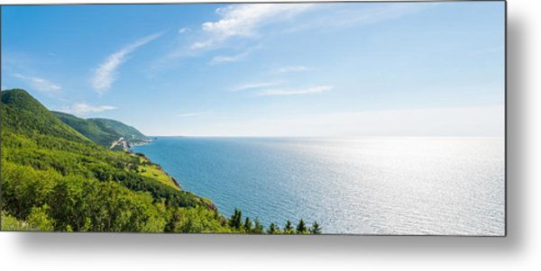 Panorama Of A Coastal Scene On The Cabot Trail Metal Print