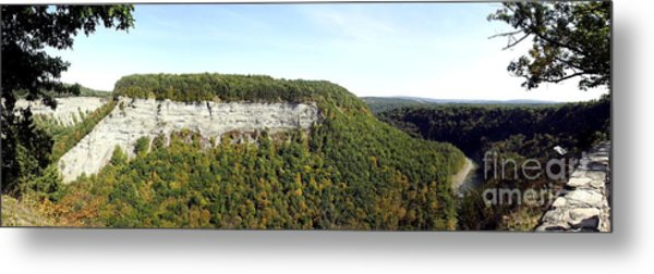 Panorama Of Cliff At Letchworth State Park Metal Print