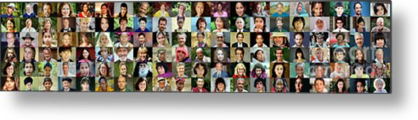 Panorama Of Diverse Faces Metal Print