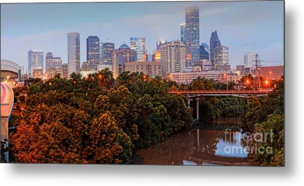 Panorama Of Downtown Houston At Dawn - Texas Metal Print