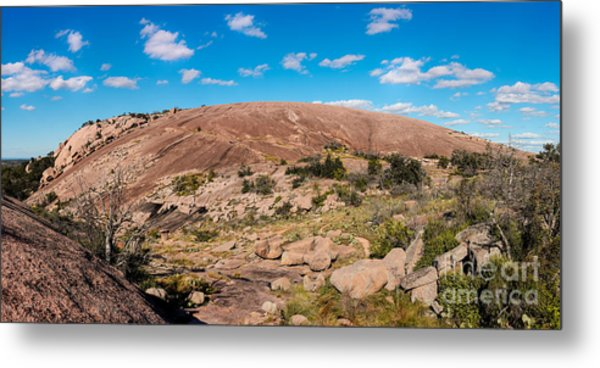 Panorama Of Enchanted Rock State Natural Area - Fredericksburg Texas Hill Country Metal Print