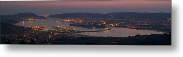 Panorama Of Ferrol From Mount Marraxon Galicia Spain Metal Print