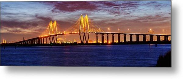 Panorama Of Fred Hartman Bridge Metal Print