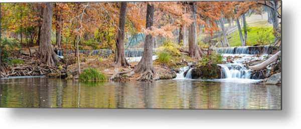 Panorama Of Guadalupe River In Hunt Texas Hill Country Metal Print