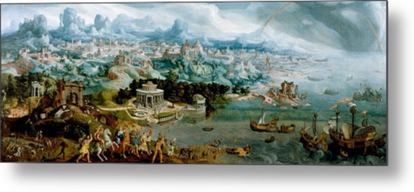 Panorama With The Abduction Of Helen Amidst The Wonders Of The Ancient World Metal Print
