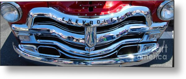 Panoramic Chevy Grill Metal Print