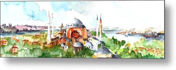 Panoramic Hagia Sophia In Istanbul Metal Print