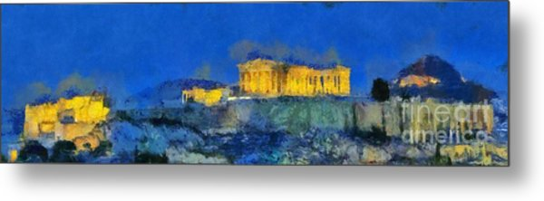Panoramic Painting Of Acropolis In Athens Metal Print