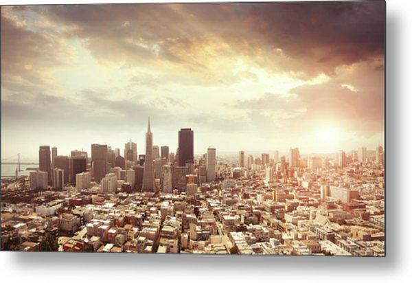 Panoramic Photo Of San Francisco In Metal Print by Narvikk