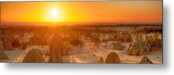 Panoramic Photo Of Sunset At The Pinnacles Metal Print