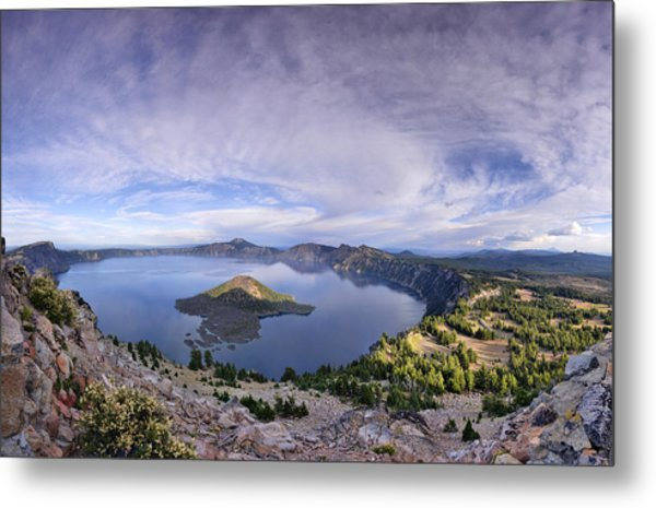 Panoramic View Of Crater Lake And Wizard Island Metal Print