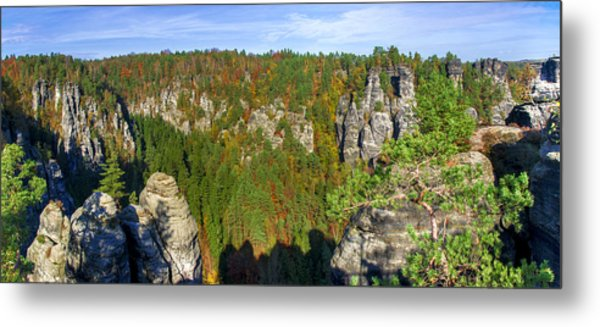 Panoramic View Of The Elbe Sandstone Mountains Metal Print