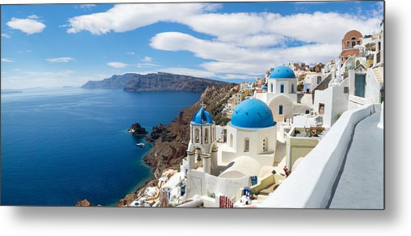 Panoramic View Of The Oia Village Metal Print