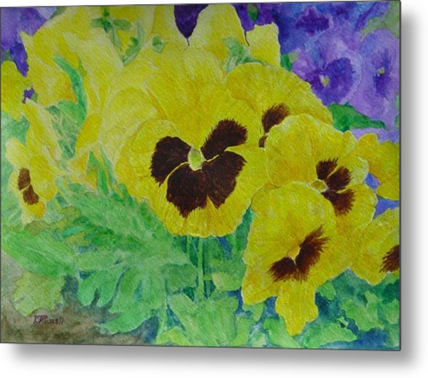Pansies Colorful Flowers Floral Garden Art Painting Bright Yellow Pansy Original  Metal Print