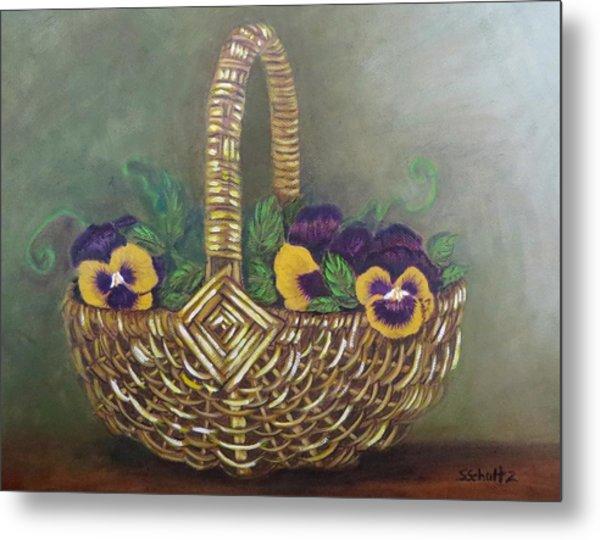 Pansy Basket Sherry Nelson Study Metal Print