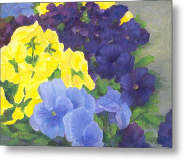 Pansy Garden Bright Colorful Flowers Painting Pansies Floral Art Artist K. Joann Russell Metal Print