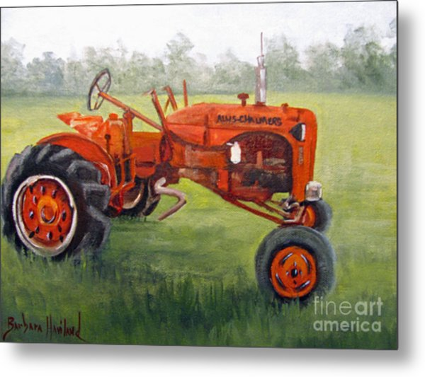 Papa's Red Tractor Metal Print