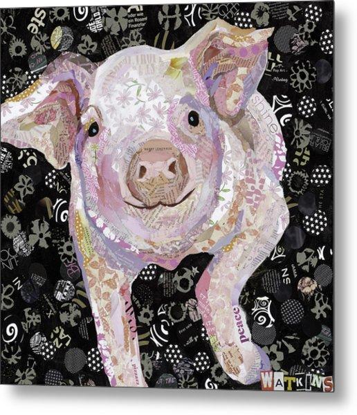 Paper Pig Metal Print by Beth Watkins