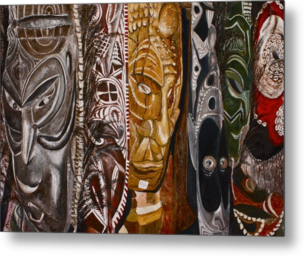 Papua New Guinea Masks Metal Print