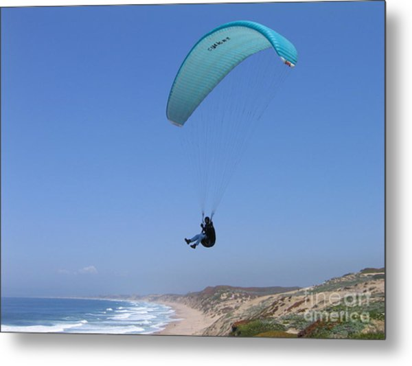 Paraglider Over Sand City Metal Print