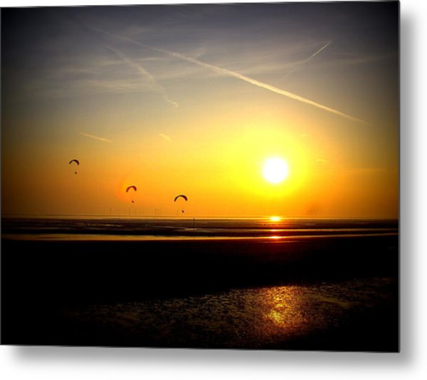 Paragliders At Sunset Metal Print