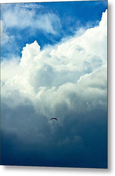 Paragliding In Changing Weather Metal Print by Viacheslav Savitskiy