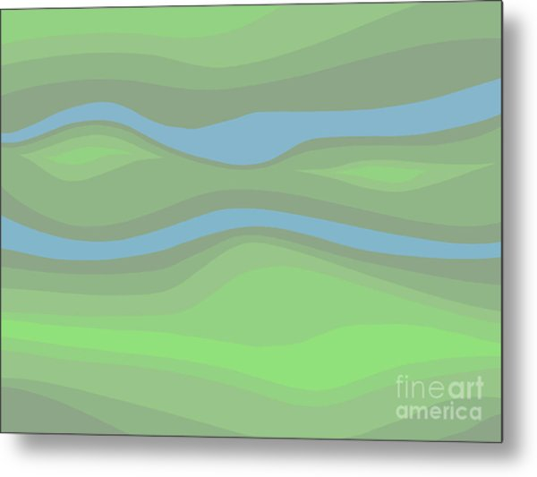 Parallel Streams Topo Metal Print