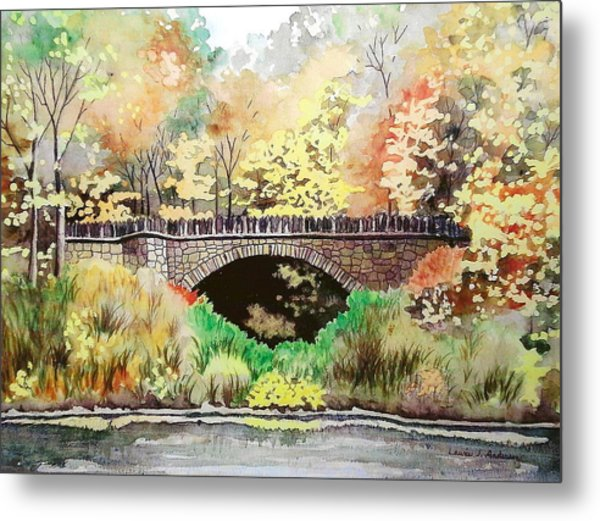 Parapet Bridge - Mill Creek Park Metal Print