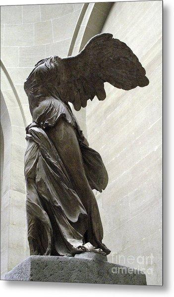 Paris Angel Louvre Museum- Winged Victory Of Samothrace Metal Print