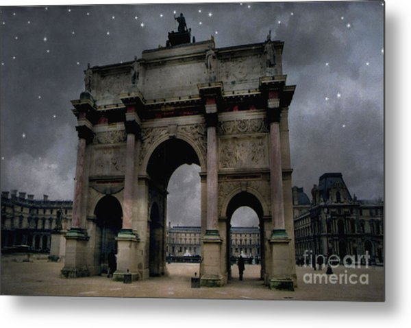 Paris Arc Du Carousel - Louvre Museum Arc De Triomphe - Starry Night Blue Paris Louvre Courtyard Metal Print