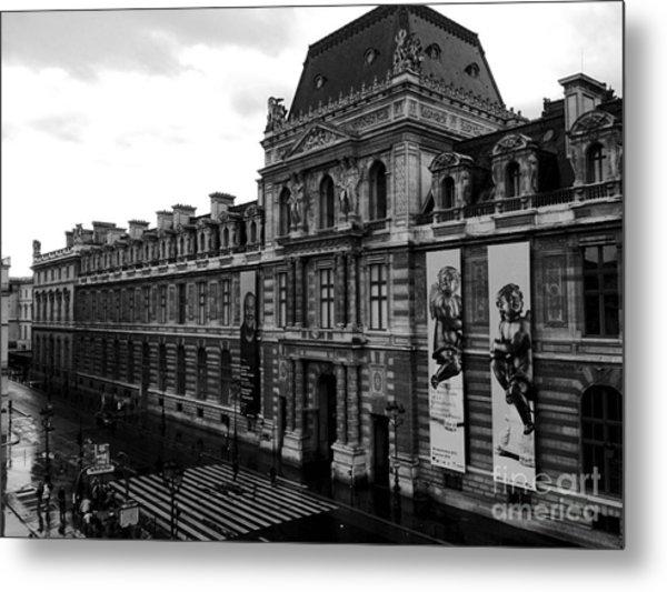 Paris Black And White Vintage Louvre Photography - Paris Louvre Museum Architecture  Metal Print