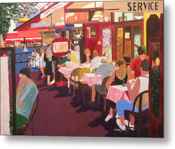 Paris Cafe At Dusk Metal Print