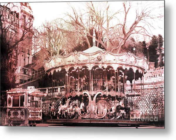 Paris Carousel Merry Go Round Montmartre District - Sacre Coeur Carousel Metal Print
