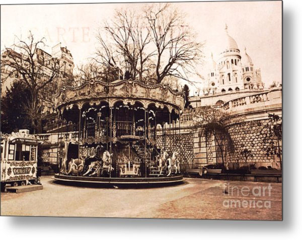 Paris Carousel Merry Go Round Montmartre District - Sepia Carousel At Sacre Coeur  Metal Print