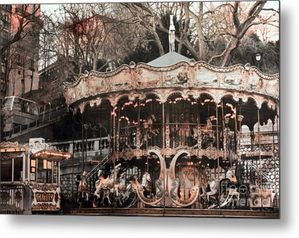 Paris Carousel Merry Go Round Sepia -  Paris Carousel Montmartre District Sacre Coeur Metal Print
