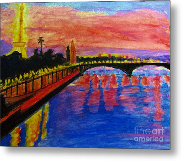 Paris City Of Lights At Dusk Metal Print