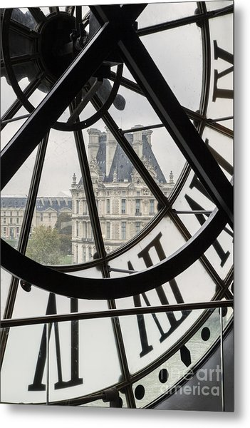 Paris Clock Metal Print