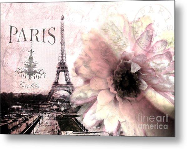 Paris Eiffel Tower Montage - Paris Romantic Pink Sepia Eiffel Tower Flower French Cottage Decor  Metal Print