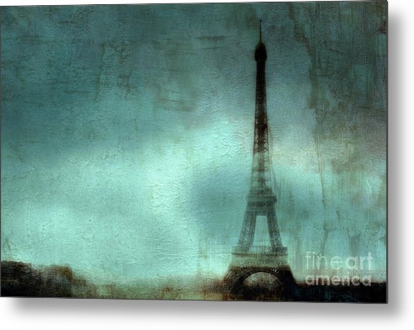 Paris Dreamy Eiffel Tower Teal Aqua Abstract Art Photo - Paris Eiffel Tower Painted Photograph Metal Print