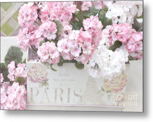 Paris Pink Flowers, Parisian Shabby Chic Paris Flower Box - Paris Floral Decor Metal Print