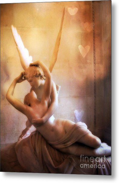 Paris Eros And Psyche Louvre Museum- Musee Du Louvre Angel Sculpture - Paris Angel Art Sculptures Metal Print