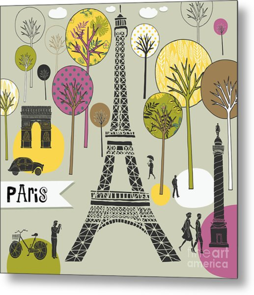 Paris France Art Print Metal Print by Lavandaart