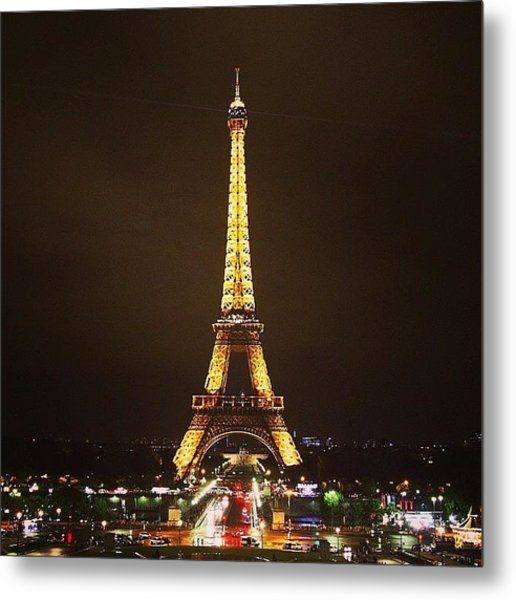 #paris #france #night #lights Metal Print