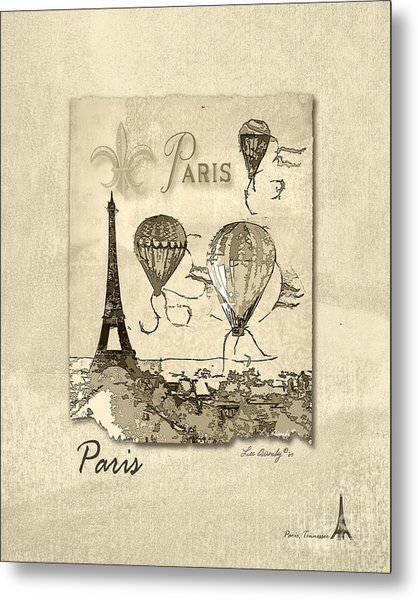 Paris In Sepia Metal Print