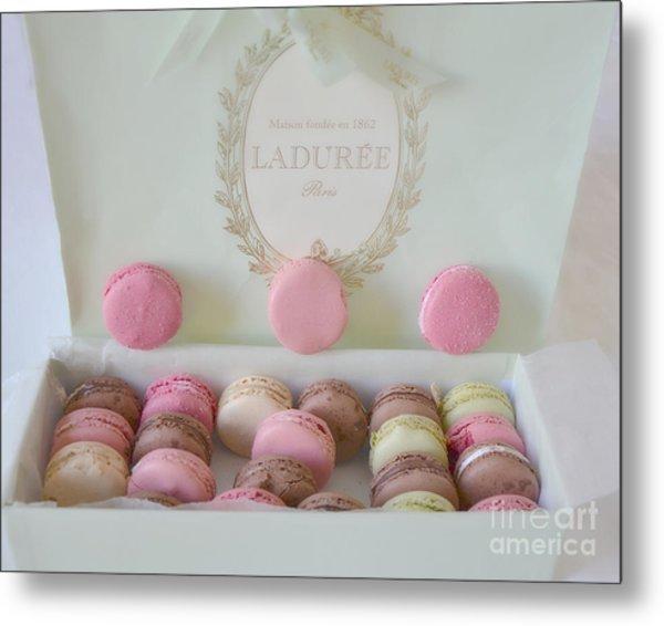 Paris Laduree Pastel Macarons - Paris Laduree Box - Paris Dreamy Pink Macarons - Laduree Macarons Metal Print