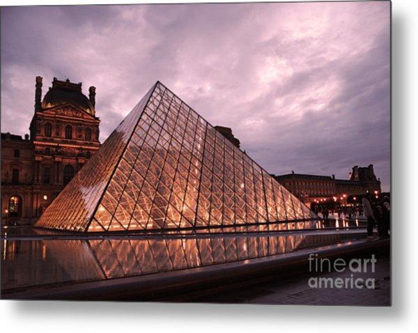 Paris Louvre Museum Dusk Twilight Night Lights - Louvre Pyramid Triangle Night Lights Architecture  Metal Print