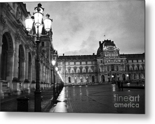 Paris Louvre Museum Lanterns Lamps - Paris Black And White Louvre Museum Architecture Metal Print