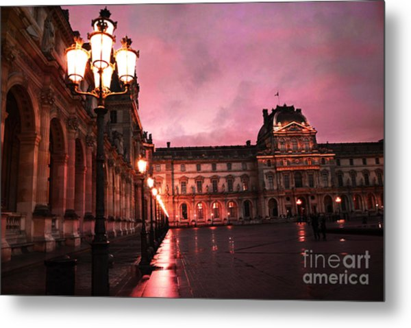 Paris Louvre Museum Night Architecture Street Lamps - Paris Louvre Museum Lanterns Night Lights Metal Print