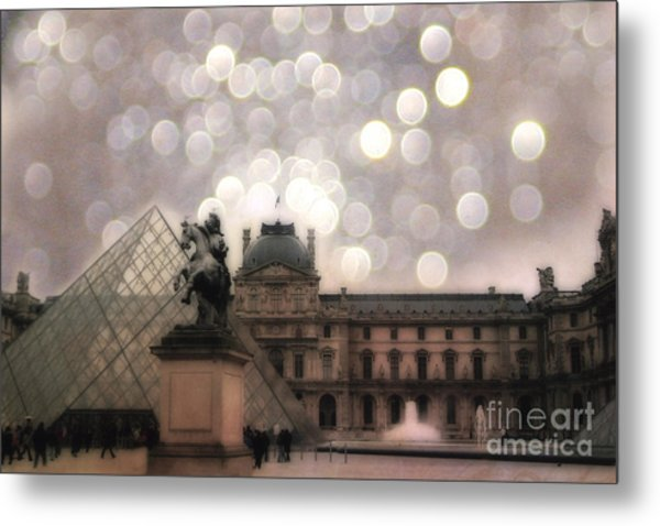 Paris Louvre Museum Pyramid - Dreamy Louvre Museum And Pyramids Metal Print